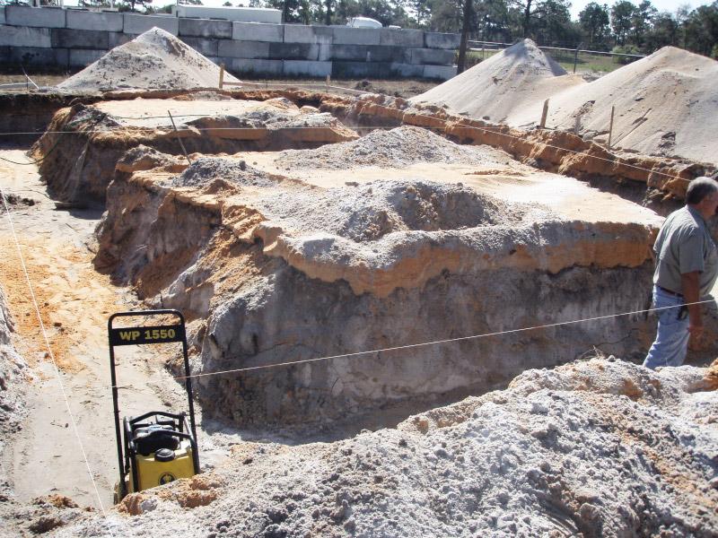 Grade beam excavation